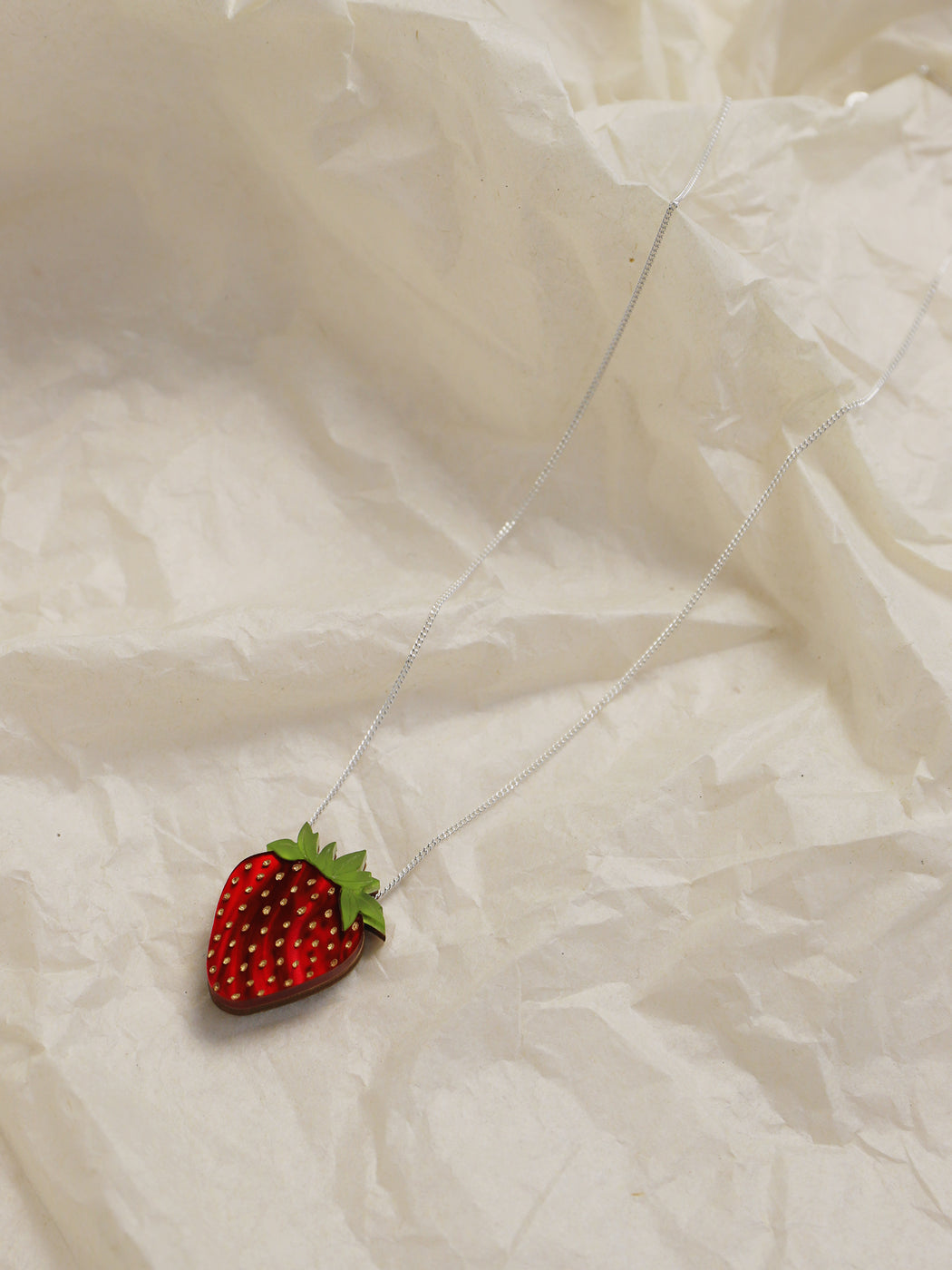 Strawberry Necklace in Silver. Statement jewellery, handmade in the U.K. by Wolf & Moon.