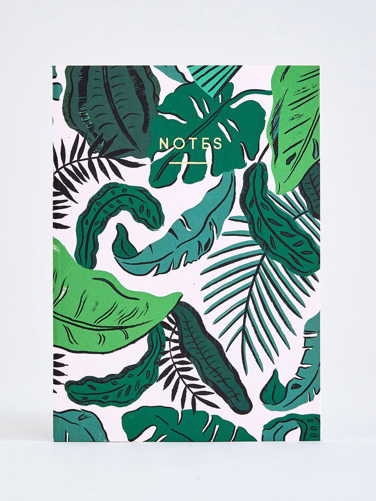 Tropical Leaves Notebook A5 Wolf Moon 6x8 • 120 pages • cover 350gsm, paper stock 90gsm • available with either ruled or graph. tropical leaves notebook a5