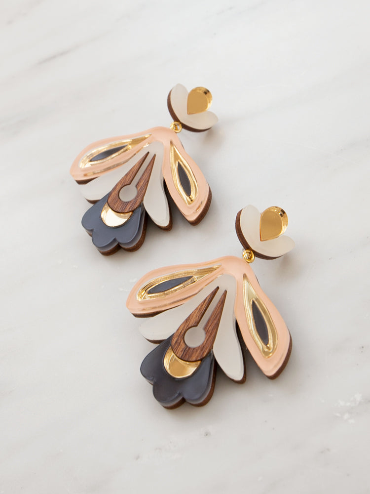Wallpaper Earrings in Peach/Navy
