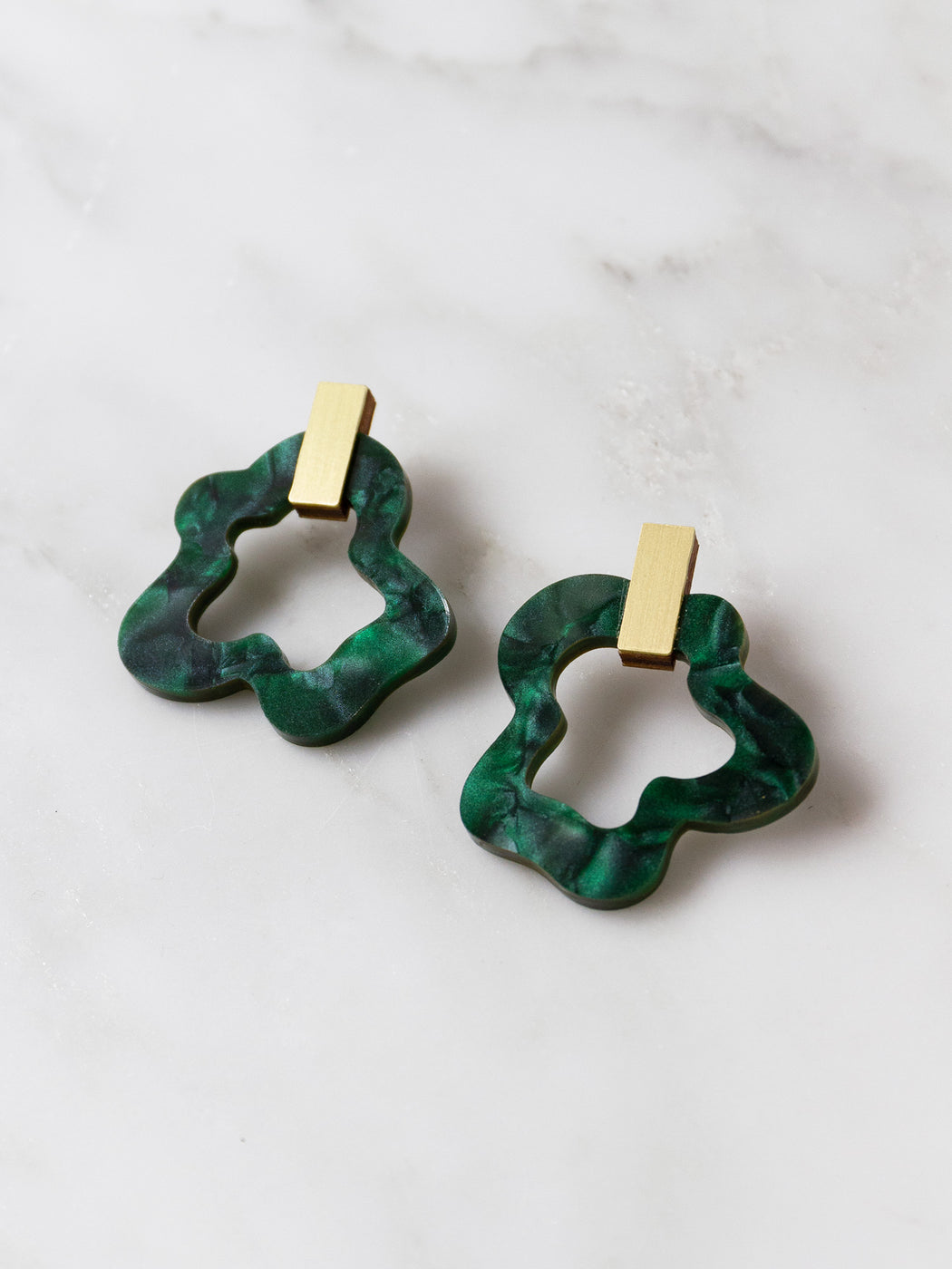Wave Earrings in Dark Green Marble