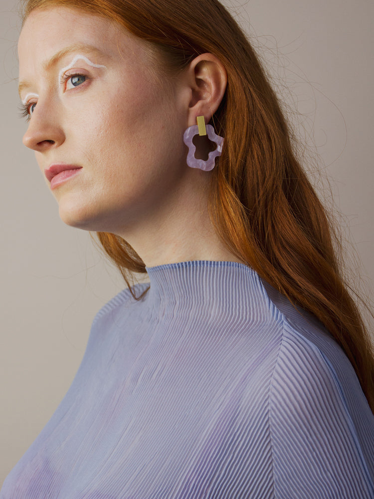 Wave Earrings in Lilac Marble