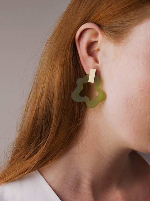 Wave Earrings in Olive