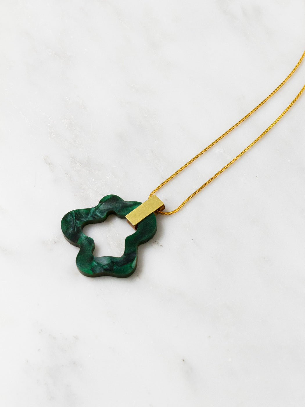 Wave Necklace in Dark Green Marble