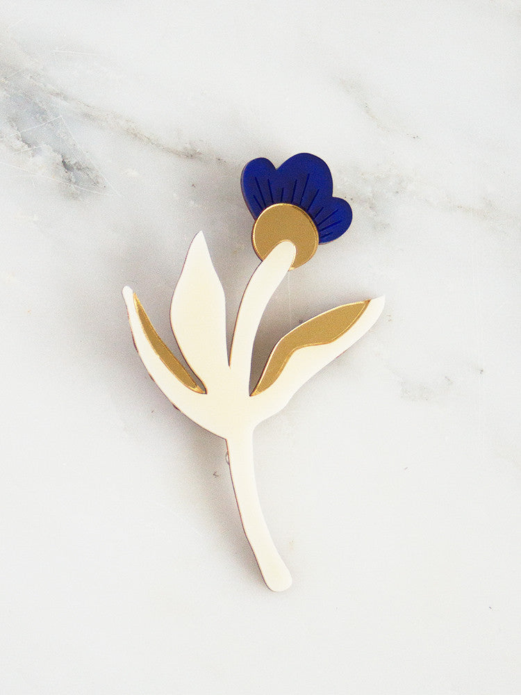 Wildflower Brooch in Dark Blue