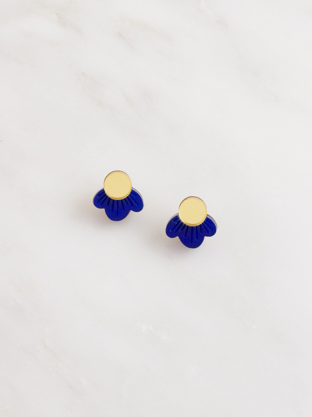 Wildflower Studs in Dark Blue