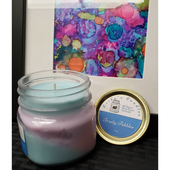 Fruity Pebbles All-Natural Hand Poured Soy Wax Mason Jar Candle
