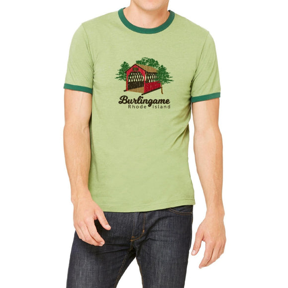 Burlingame Heather Green and Forest Vintage Unisex Ringer Tee