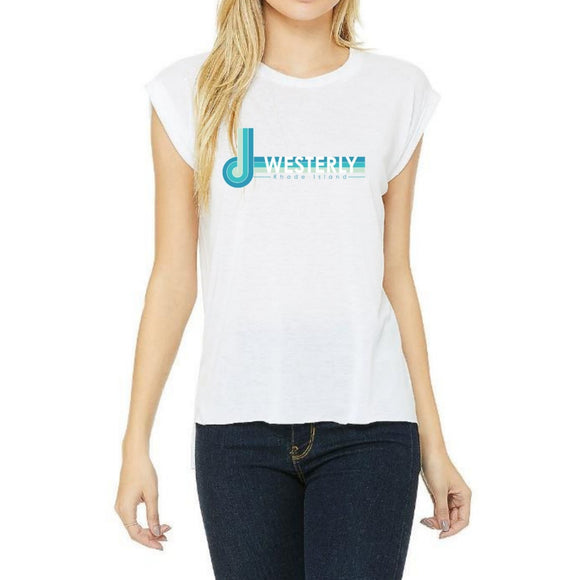 Westerly Retro White Women's Flowy Muscle Tee