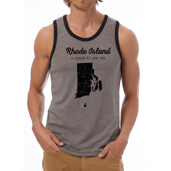 Heather Grey and Black Tank Top with words 3% Bigger at Low tide and picture of Rhode Island