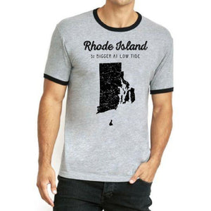 Light Grey Shirt  with black neckline and black arm bands featuring words Rhode Island 3% Bigger at Low Tide and picture of Rhode Island