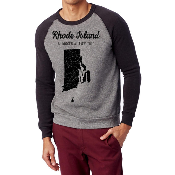 Grey Sweatshirt with Black Sleeves featuring the words Rhode Island 3% Bigger at Low Tide and picture of Rhode Island