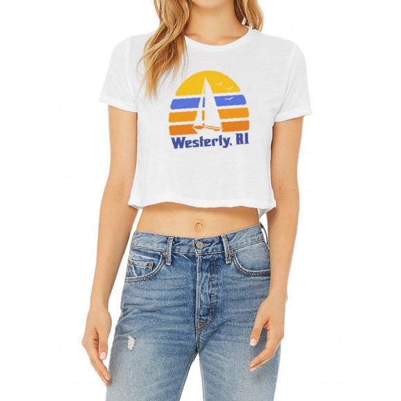 70s Sailboat White Women's Flowy Cropped Tee