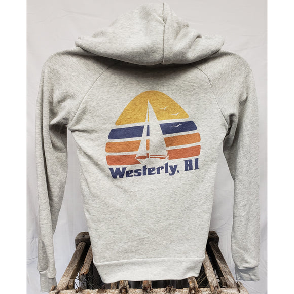 70s Sailboat Light Grey Eco-Fleece Women's Zip Hoodie