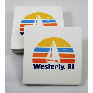 70s Sailboat Square Sandstone Coasters – Set of Four