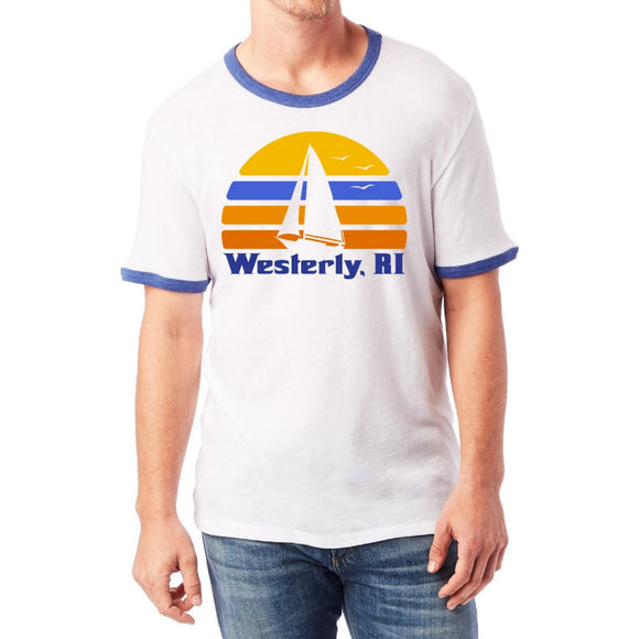 White Ringer Tee shirt with royal ringer neckline and royal are bands featuring a retro sun, silhouette of a sailboat and the words Westerly, RI.