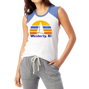Women's White Muscle Tank with Royal Cut Sleeves featuring a retro sun, a silhouette of a sailboat and the words Westerly, RI.