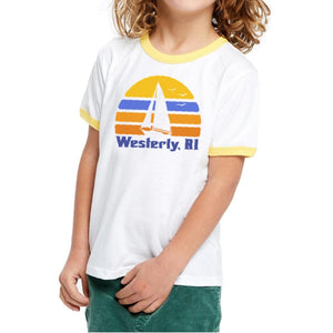 White Youth Ringer Tee with yellow neck line and yellow arm bands featuring a retro sun, silhouette of a sailboat and the words Westerly, RI.