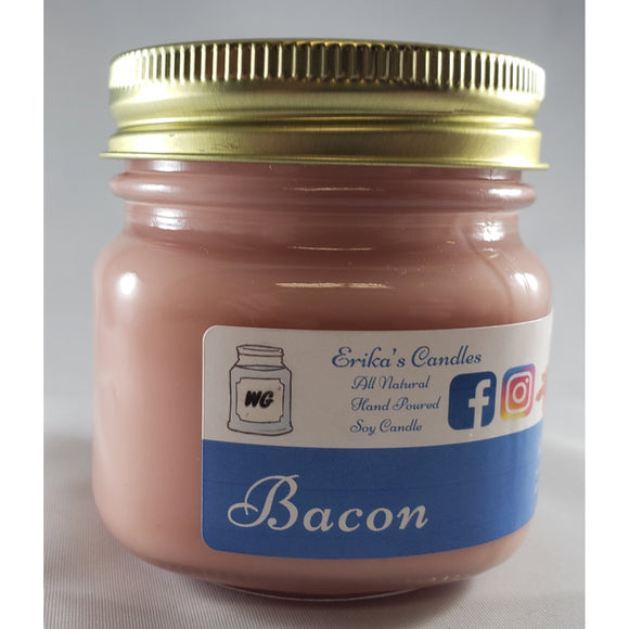 Bacon All-Natural Hand Poured Soy Wax Mason Jar Candle