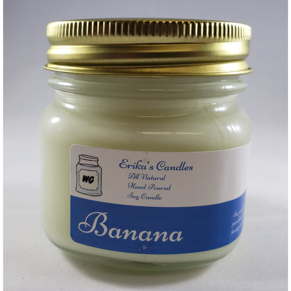 Banana All Natural Hand Poured Soy Wax Mason Jar Candle