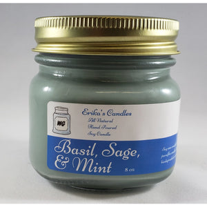 Basil, Sage, & Mint All Natural Hand Poured Soy Wax Mason Jar Candle