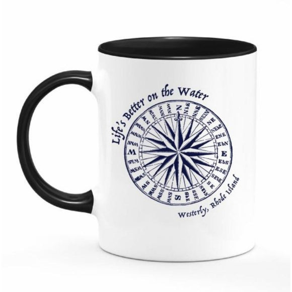 Life's Better on the Water White and Black 11 Oz. Ceramic Coffee Mug