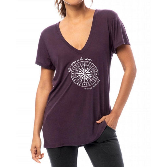 Life's Better on the Water Deep Purple Slinky Women's Deep V-Neck Tee