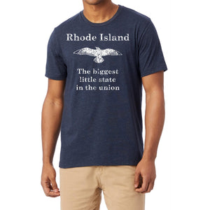 Heather Navy Tee with the words Rhode Island The Biggest Little State in the Union and a distressed seagull.