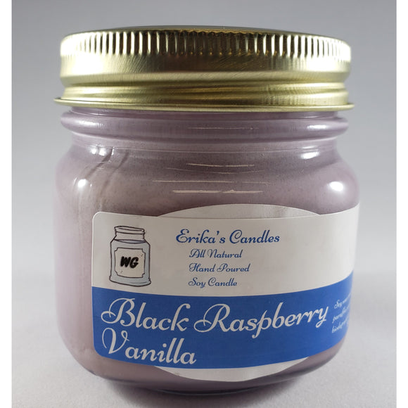 Black Raspberry Vanilla All Natural Hand Poured Soy Wax Mason Jar Candle