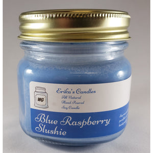 Blue Raspberry Slushie All Natural Hand Poured Soy Wax Mason Jar Candle
