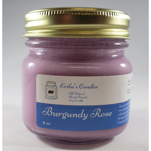 Burgundy Rose All Natural Hand Poured Soy Wax Mason Jar Candle