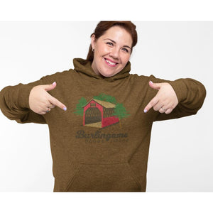 Heather Olive Organic Pullover Hooded Sweatshirt featuring a covered bridge and the words Burlingame Rhode Island.