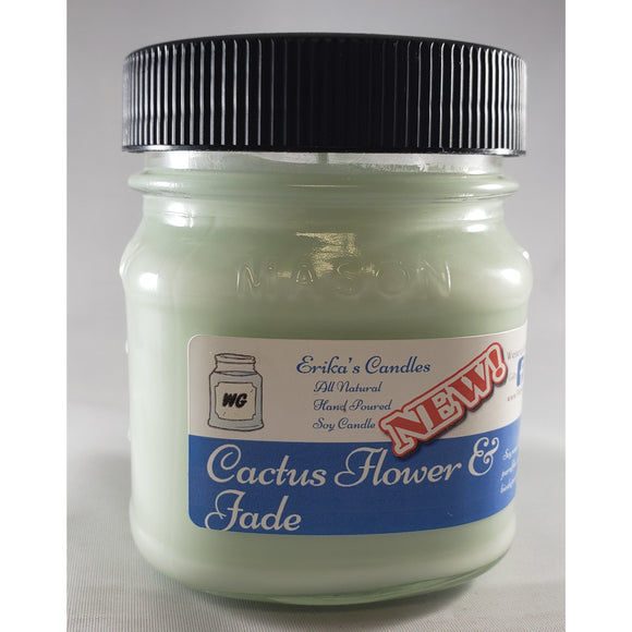 Cactus Flower and Jade All-Natural Hand Poured Soy Wax Mason Jar Candle