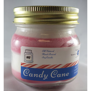 Candy Cane All-Natural Hand Poured Soy Wax Mason Jar Candle