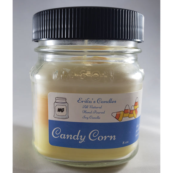Candy Corn All-Natural Hand Poured Soy Wax Mason Jar Candle