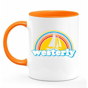 Rainbow Sailboat White and Orange 11 Oz. Ceramic Coffee Mug