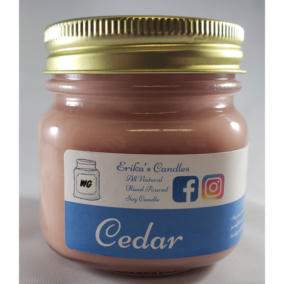 Cedar All-Natural Hand Poured Soy Wax Mason Jar Candle