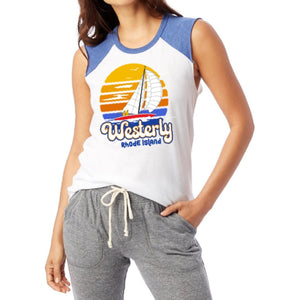 Circle Sailboat White and Royal Vintage Women's Muscle Tank