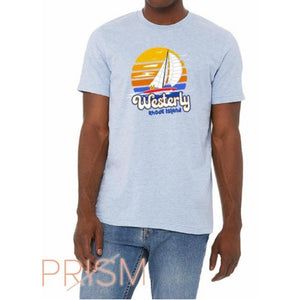 Circle Sailboat Heather Prism Blue Vintage Unisex Tee
