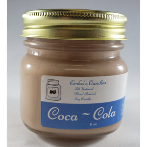 Coco~Cola All Natural Hand Poured Soy Wax Mason Jar Candle