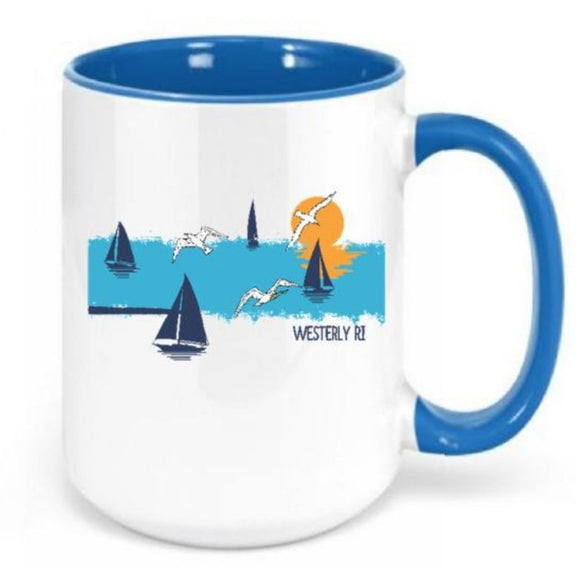 Distressed Ocean  White and Light Blue 15 Oz. Ceramic Coffee Mug