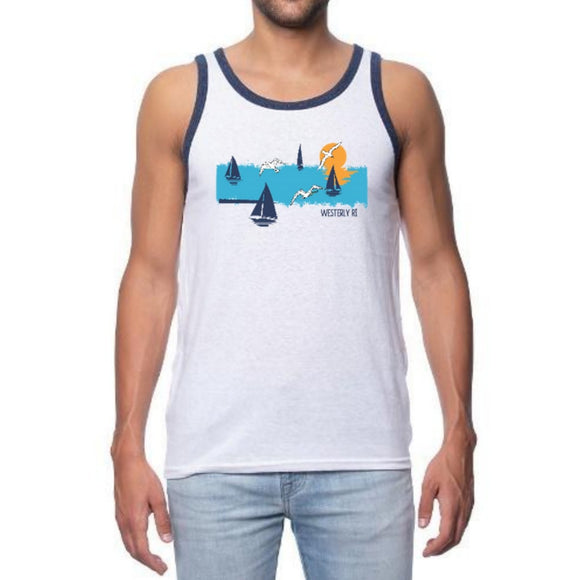 Distressed Ocean White and Navy Unisex Tri-Blend Ringer Tank Top