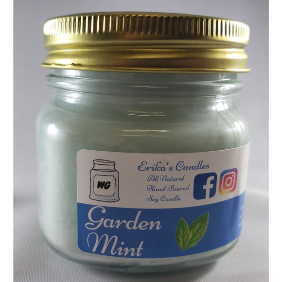 Garden Mint All-Natural Hand Poured Soy Wax Mason Jar Candle