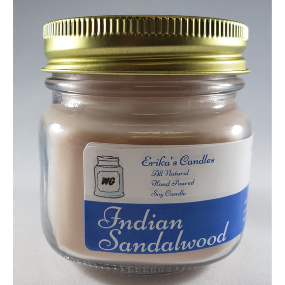 Indian Sandalwood All Natural Hand Poured Soy Wax Mason Jar Candle