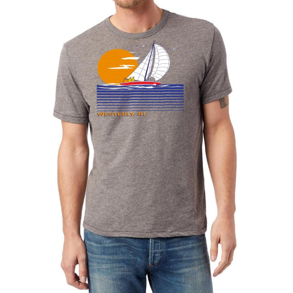 Coal Grey Vintage T-Shirt with a distressed picture of a large sailboat on linear waves and a large sun.  The words Westerly, RI are under the picture.