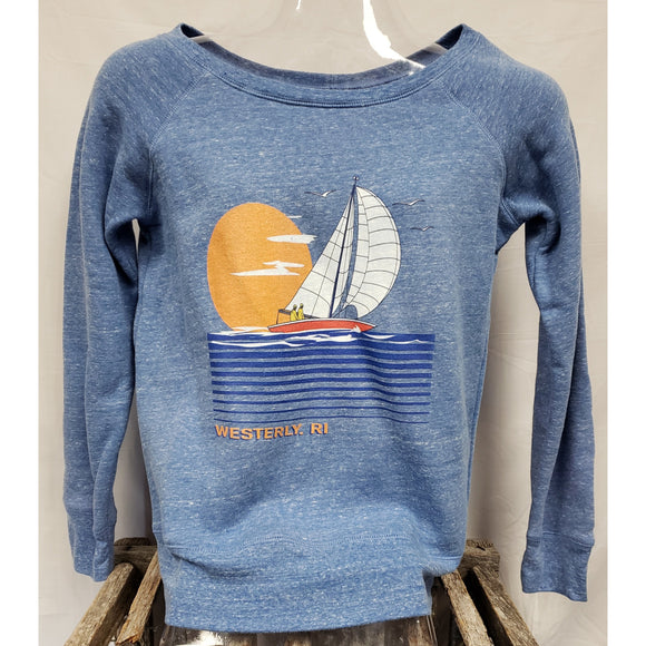 Large Sailboat Linear Waves Blue Tri-Blend Women's Wide Neck Sweatshirt
