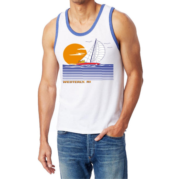 White ringer tank top with royal binding on neck and arms featuring a picture of a large sailboat on linear waves, a large sun and the words Westerly, RI under the picture.