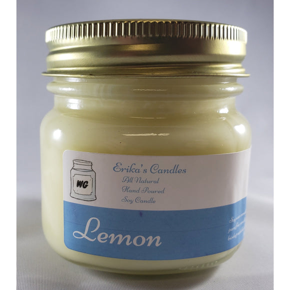 Lemon All-Natural Hand Poured Soy Wax Mason Jar Candle