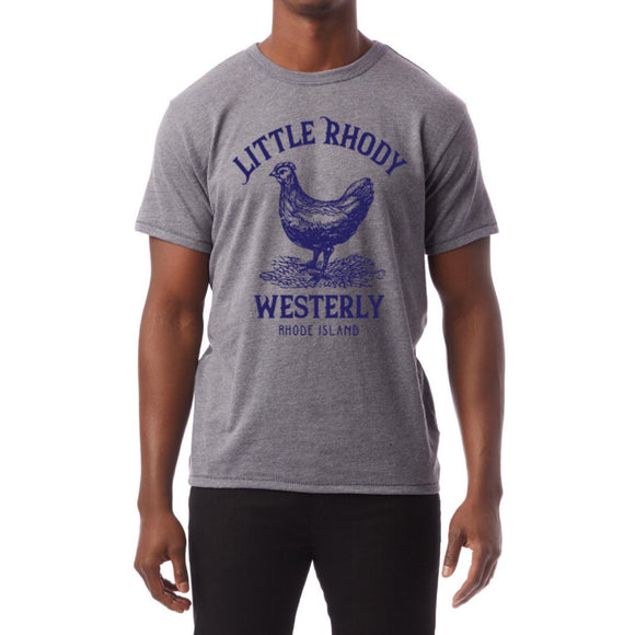 Heather Navy Soft Vintage T-Shirt with a picture of a Rhode Island Red and the word Little Rhodey Westerly, Rhode Island.