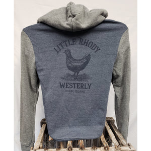 Little Rhody Navy and Grey Two-Tone Eco-Fleece Unisex Zip Hoodie