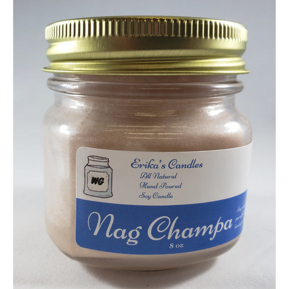 Nag Champa All Natural Hand Poured Soy Wax Mason Jar Candle